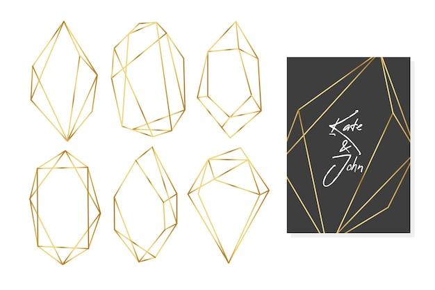 Coleção de quadros de casamento com polígonos de ouro