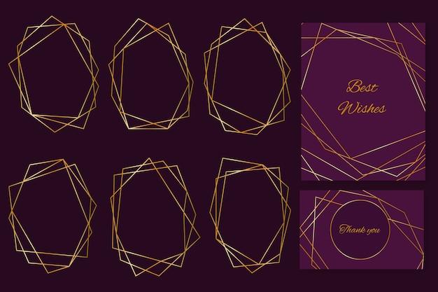 Coleção de quadros de casamento poligonal dourado