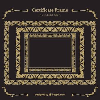 Coleção de quadros de certificado com ornamentos vintage
