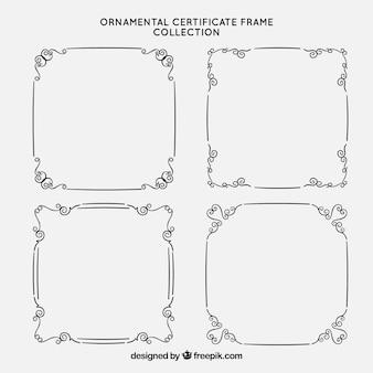 Coleção de quadros de certificado com ornamentos