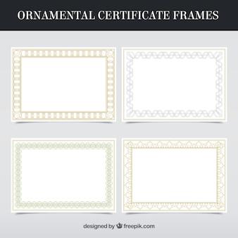 Coleção de quadros de certificado em estilo ornamental
