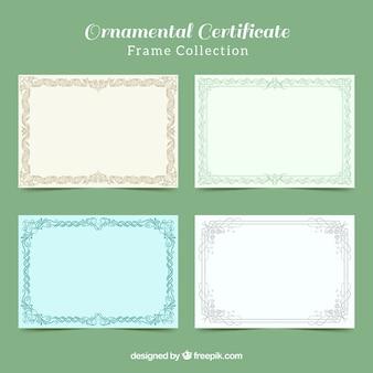 Coleção de quadros de certificado ornamental