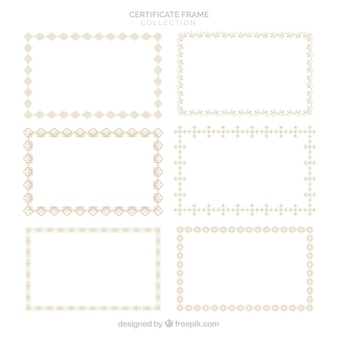 Coleção de quadros de certificados