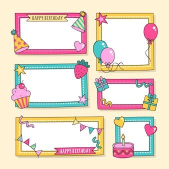 Coleção de quadros de colagem de aniversário em design plano