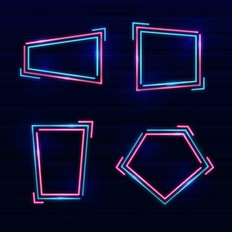 Coleção de quadros de design de néon