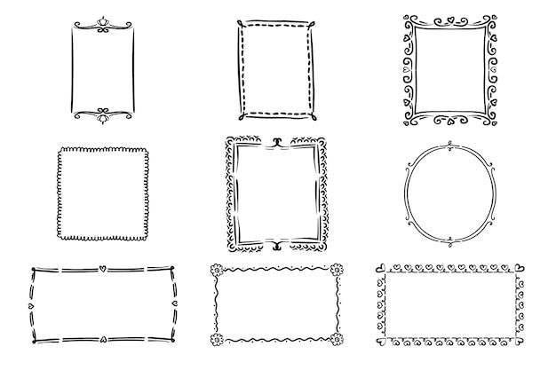 Coleção de quadros de doodle de estilo desenhado à mão