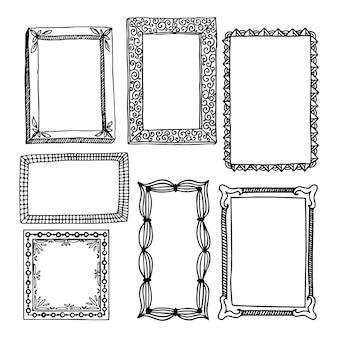 Coleção de quadros de doodle de gravura