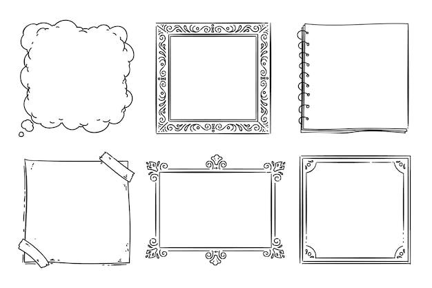 Coleção de quadros de doodle desenhado à mão com gravura
