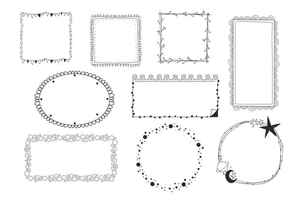 Coleção de quadros de doodle desenhado à mão para gravura