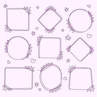 Coleção de quadros de doodle desenhado à mão