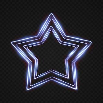 Coleção de quadros de estrela de néon de luz círculo estrela oval traços de luz azul festivos isolados