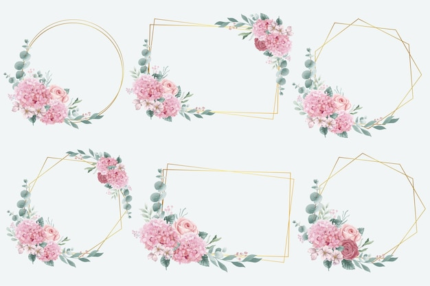 Coleção de quadros de flores de hortênsia e rosas em aquarela