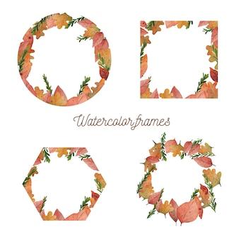 Coleção de quadros de folhas de outono em aquarela