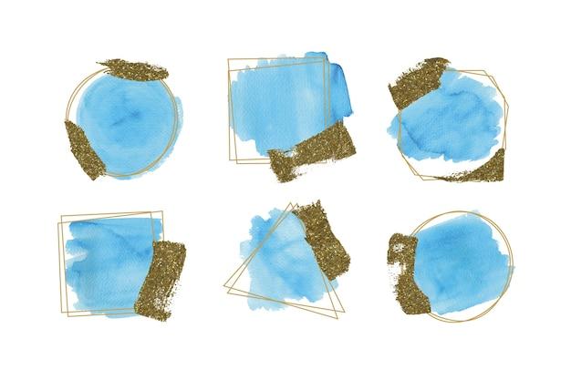 Coleção de quadros de glitter dourado