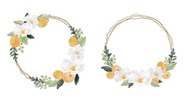Coleção de quadros de grinalda de flores brancas em aquarela e frutas laranja