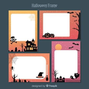 Coleção de quadros de halloween com design plano
