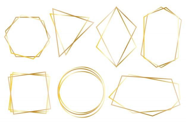 Coleção de quadros de luxo poligonais dourados