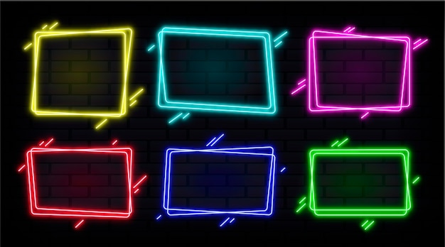 Coleção de quadros de néon