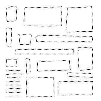 Coleção de quadros de pontos desenhados à mão