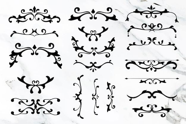 Coleção de quadros de vetor de ornamento elegante preto