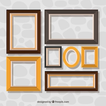 Coleção de quadros decorativos em design plano