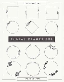 Coleção de quadros e fronteiras florais. Vetor Premium