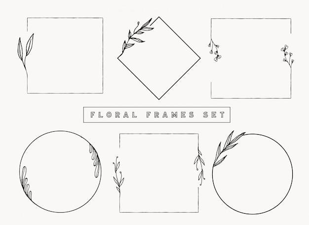 Coleção de quadros e fronteiras florais.