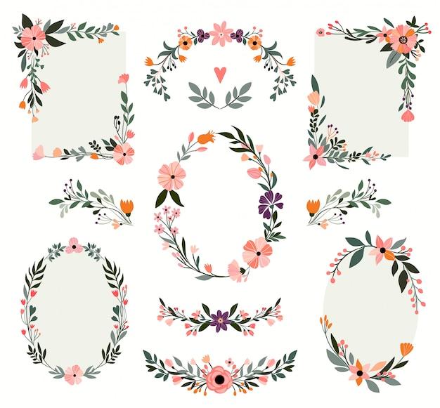 Coleção de quadros florais com elementos de mão desenhada