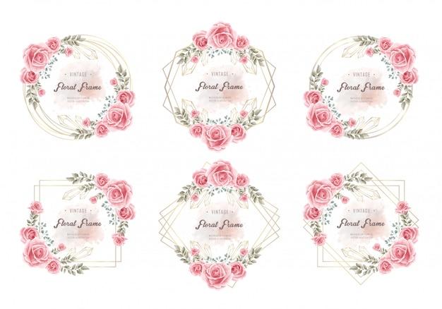 Coleção de quadros florais de flor elegante aquarela