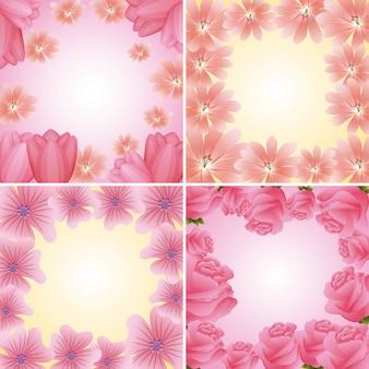 Coleção de quadros florais delicados decoração de flores