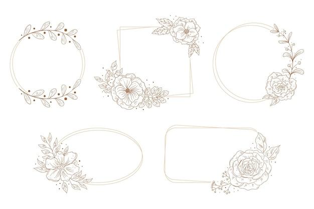 Coleção de quadros florais desenhados à mão