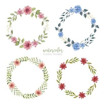 Coleção de quadros florais em aquarela