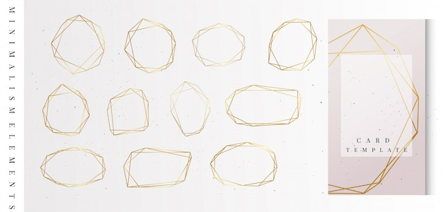 Coleção de quadros geométricos de ouro.