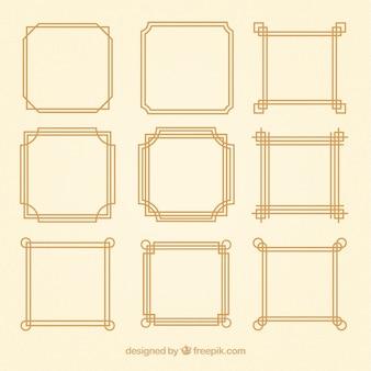 Coleção de quadros lineares com ornamentos