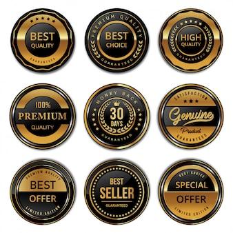 Coleção de qualidade de produto moderna de crachás e etiquetas de selo