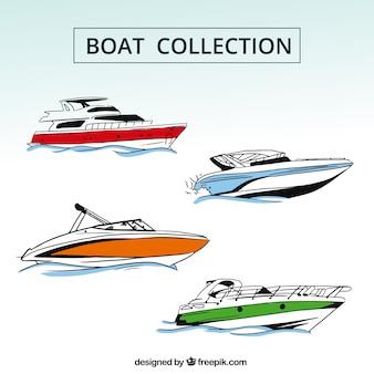 Coleção de quatro barcos com detalhes de cor