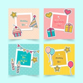 Coleção de quatro cartões de aniversário coloridos