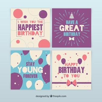 Coleção de quatro cartões de aniversário desenhados a mão