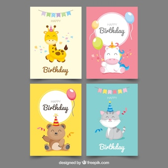 Coleção de quatro cartões de aniversário
