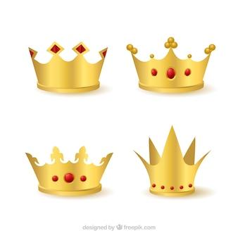 Coleção de quatro coroa de ouro com gemas vermelhas