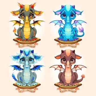Coleção de quatro dragões de bebê elemento natural, fogo, água, ar e terra