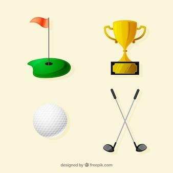Coleção de quatro elementos de golfe