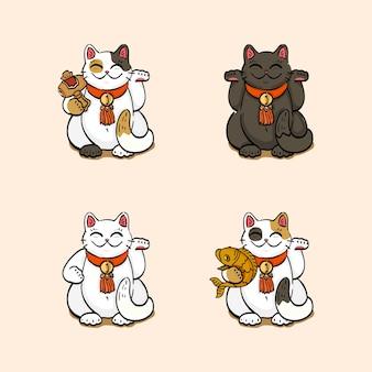 Coleção de quatro gatos da sorte (maneki neko) desenhados em diferentes poses