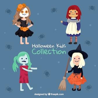 Coleção de quatro meninas disfarçadas para halloween