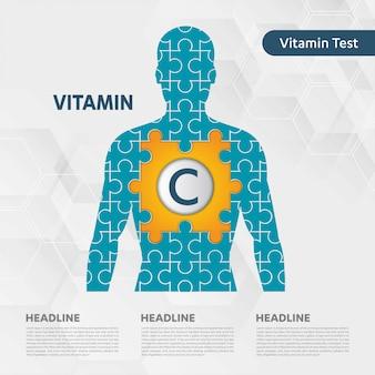 Coleção de quebra-cabeça do corpo de ícone de vitamina c homem