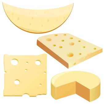 Coleção de queijo de ilustrações vetoriais