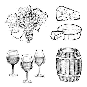 Coleção de queijo, vinho e uvas ilustração de estilo desenhado à mão