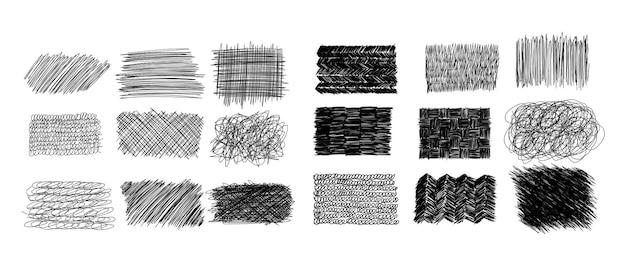 Coleção de rabiscos com caneta de tinta - várias formas retangulares de desenhos de rabiscos feitos à mão. conjunto de ilustração vetorial de quadros de grunge doodle com traços editáveis. emblemas de padrão arranhado.