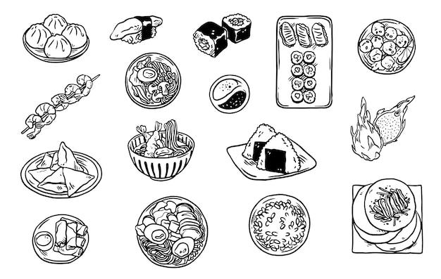Coleção de rabiscos de comida asiática
