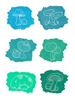 Coleção de rabiscos em aquarela de cogumelos desenhados à mão